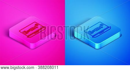 Isometric Line Math System Of Equation Solution On Laptop Icon Isolated On Pink And Blue Background.
