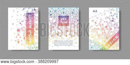 Vector A4 Brochure, Report, Catalog, Magazine, Cover Futuristic Rainbow Set. Colorful Design With Mo