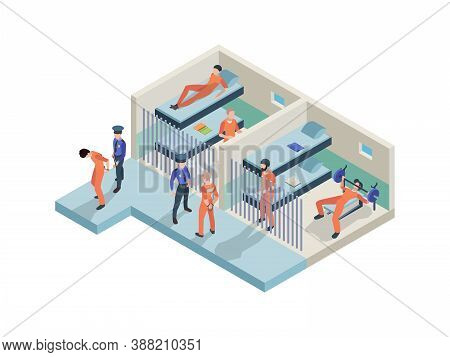 Jail Interior. Prisoners Sitting In Cameras Walking Police Guards In Jail Rooms Inmate Persons Vecto