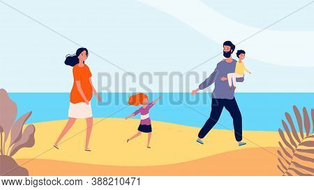 Happy Family Walking On Beach. Travel Time, Mother Father Daughter And Son. Summer Time, Sea Or Ocea