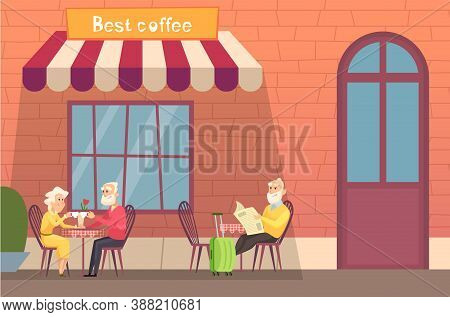 European Street Cafe. Elderly Travellers Drink Coffee On Terrace. Old People With Luggage Relax Vect