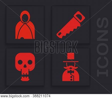 Set Magician, Mantle, Cloak, Cape, Hand Saw And Skull Icon. Vector