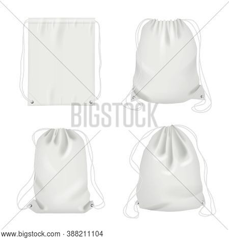 Rope Bag. Sport Fabric White Shoulder Drawstring Package Vector Realistic Collection. Bag Drawstring