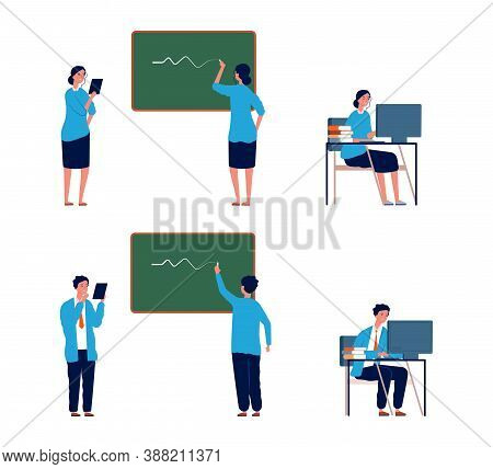Teacher Activities. Male Female Professors, Flat College Or School Lectors. Persons Writing On Chalk