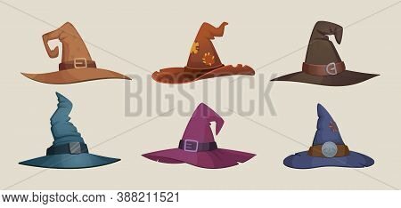 Witch Hat. Black Female Cap Scary Symbols For Halloween Party Vector Clothes Collection. Traditional