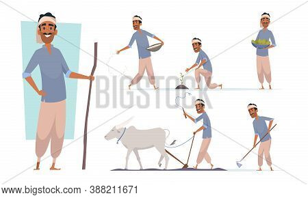 Indian Farmer. India Village Cheering Characters Working With Cow Harvesting Bangladesh People Vecto