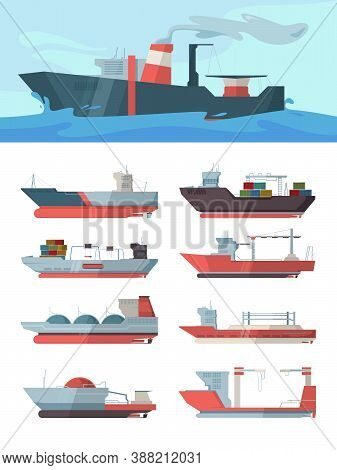 Industrial Ship. Cargo Vessel Transportation Sea Big Ocean Ship With Containers Tanker Oil Vector Il