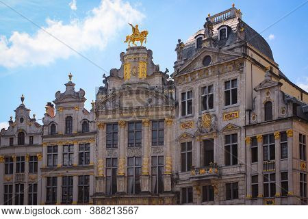 Brussels, Belgium - May 11, 2018: View Of The Ancient Gothic Grand Place (also Used Name Grand Squar