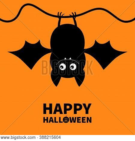 Cut Bat. Happy Halloween. Hanging Animal. Cartoon Kawaii Funny Baby Charater. Greeting Card. Flat De
