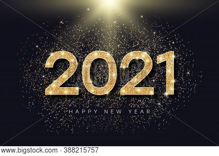 2021 Number With Golden Glitter For New Year. Holiday Banner For New Year And Merry Christmas With G