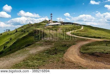 Kopaonik, Serbia - July 16 2020: Pancic's Peak In The Spring, Highest Peak Of Kopaonik Mountain, Ser