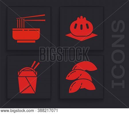 Set Chinese Fortune Cookie, Asian Noodles In Bowl And Chopsticks, Khinkali On Cutting Board And Asia
