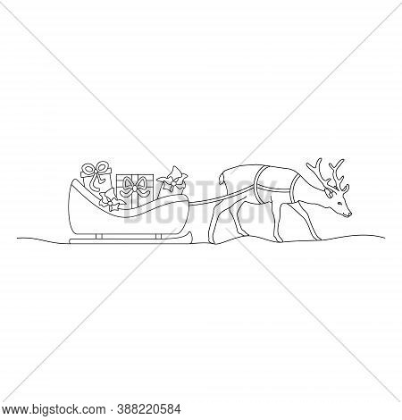 Christmas Reindeer And His Sleigh Full Of Gifts. Coloring Page. Vector Illustration.