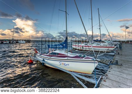 Puck, Pomeranian Province, Poland- 08 September 2015: View Of The Marine, Pier And Seaport In The Ci