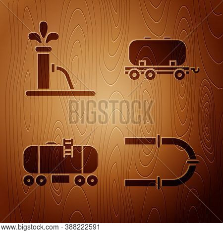 Set Industry Pipe, Oil Pump Or Pump Jack, Oil Railway Cistern And Oil Railway Cistern On Wooden Back