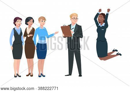 Employer Choose Worker. Man Recruit From Crowd Women. Happy Hired Person And Dissatisfied Employees.