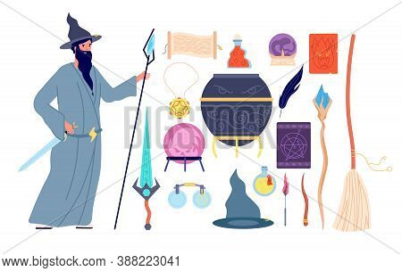Magic Tools. Magical Alchemy Book, Wizard Character, Crystal Witch Broom Potion Bottle. Male Mystery