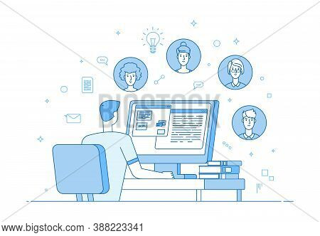 Online Teamwork. Video Conference, Corporate Internet Communication. Man Colleagues Computer Call. F