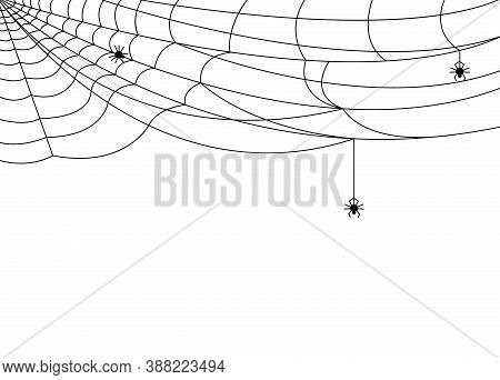 Cobweb Banner. Halloween Spider Web, Black Spooky Network Background. Isolated Frame Pattern, Cartoo