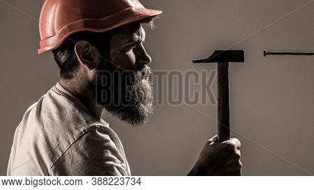 Builders In Hard Hat, Helmet. Bearded Man Worker With Beard, Building Helmet, Hard Hat. Handyman, Ha