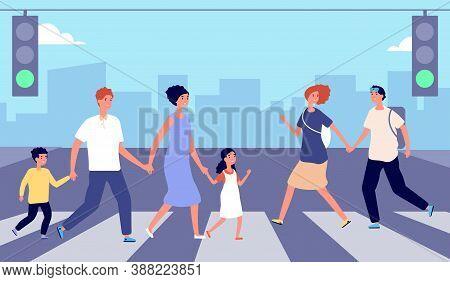 People On Crosswalk. Person Traffic, Pedestrian Crowd City Street. Man Woman Cross Road On Green Lig