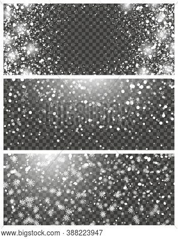Snowfall And Falling Snowflakes On Transparent Background. Set Of Three Backdrops. White Snowflakes