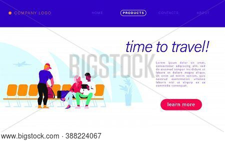 Vector Landing Page Design With Travel Concept. People Waiting For Boarding In Wait Hall. Banner For