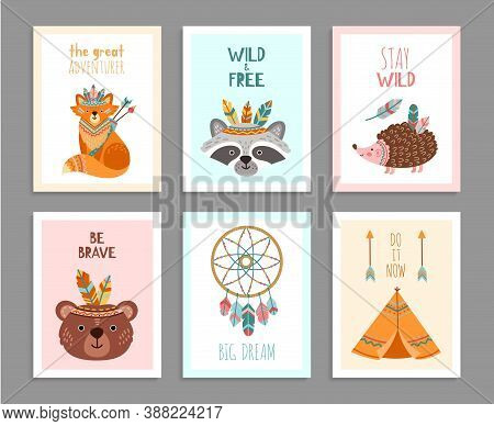 Be Brave Posters. Woodland Wild Animals, Tribal Arrows Child Fun Birthday Card. Happy Forest Adventu