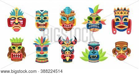 Ethnic Masks. Traditional Ritual, Ceremonial Tribal Mexican Indian Or African Colorful Masks, Aborig