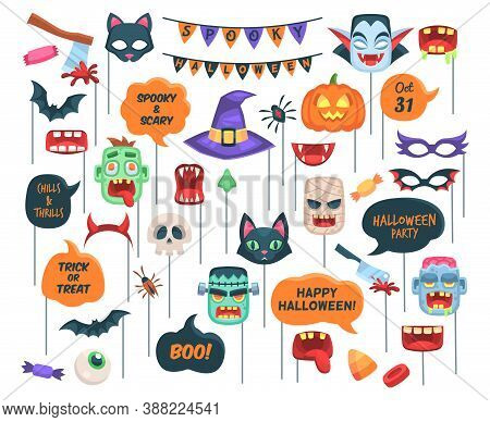 Halloween Props. Photo Booth Requisite Speech Bubbles With Text, Chills And Thrills, Boo, Trick Or T