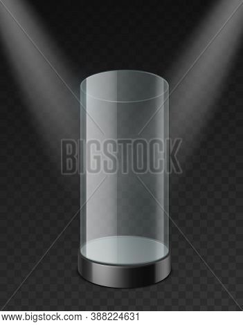 Glass Cylinder Showcase. Clear Plastic Empty Case With Tray Under Spotlights Realistic Mockup. Museu