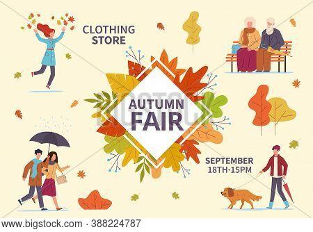Autumn Fair. Fall Season Public Exhibition, Holiday Clothes Sale And Flea Market, People With Umbrel