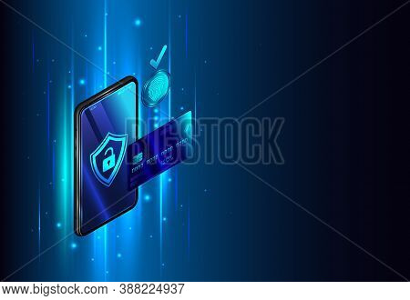 Online Bank On Phone. Safety Web Payment Through Mobile App On Smartphone. Isometric Vector Illustra