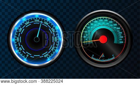 Speedometer Indicators. Dashboard Panel For Transport Automobile Illustration. Automobile Digital Od