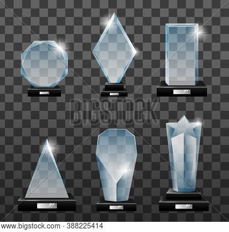 Glass Awards. Realistic Transparent Winner Trophy, Acrylic Stars Cups And Competition Prizes. Empty