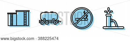 Set Line No Smoking, Oil Industrial Factory Building, Oil Railway Cistern And Oil Pump Or Pump Jack