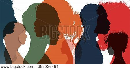 Silhouette Profile Group Of Men Women And Girl Of Diverse Culture. Diversity Multi-ethnic And Multir