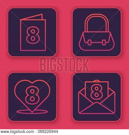Set Line Greeting Card With 8 March, Heart With 8 March, Handbag And Envelope With 8 March. Blue Squ