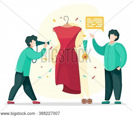 Photo Journalist Taking Photo Of Presentation Or Exhibition. Designer Presenting New Fashionable Clo