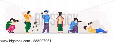 Paparazzi Or Photographers With High Resolution Cameras Isolated At White Background. People In Diff