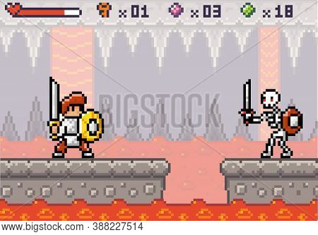 Pixel Game Interface. 80s Graphic. Hero Or Personage, Character Of Mobile 8 Bit Game, Videogame. Pix