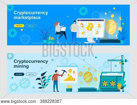 Cryptocurrency Mining And Trading Landing Page With People Characters. Cryptography And Blockchain F