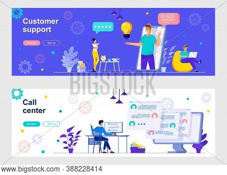 Customer Support And Call Center Landing Page With People Characters. Online Client Assistance And C