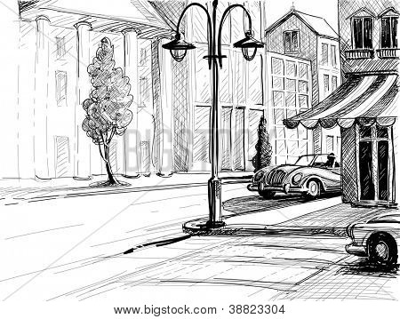 Retro city sketch, street, buildings and old cars vector illustration, pencil on paper style