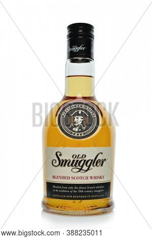 St.Petersburg, Russia - April  2020 - Bottle of Old Smuggler blended scotch whisky isolated on white background. Distilled and blended in Scotland.