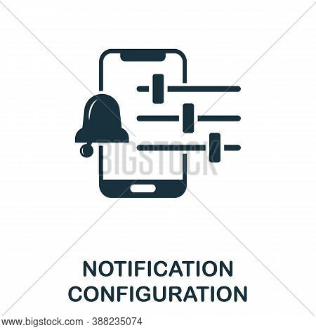 Notification Configuration Icon. Simple Element From App Development Collection. Filled Notification