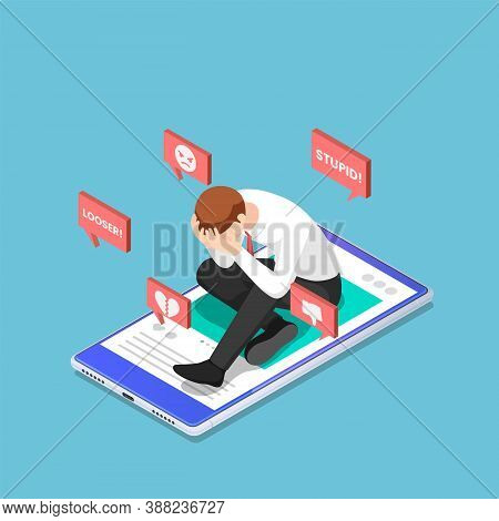 Flat 3d Isometric Depressed Businessman Sitting On The Smartphone With Hate Speech From Social Media