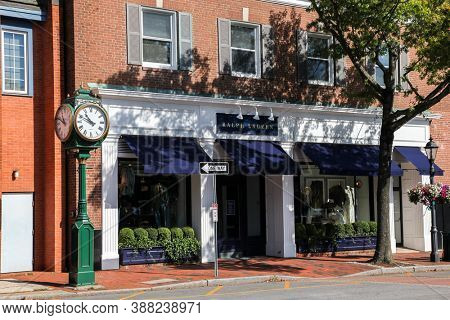 NEW CANAAN, CT, USA - OCTOBER 4, 2020:  Downtown in nice day with Ralph Lauren store front on Elm Street