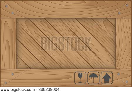 Texture Of Wood Box And Fragile Symbol On White Background. Vector Illustration