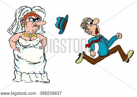 Funny Newlyweds Isolated On White Background. Groom Runs Away From The Bride. Running Groom Chased B